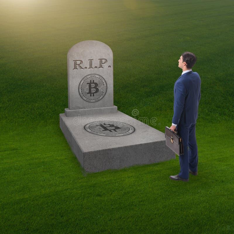 Biznesmen opłakuje śmierć bitcoin i upadek obrazy stock