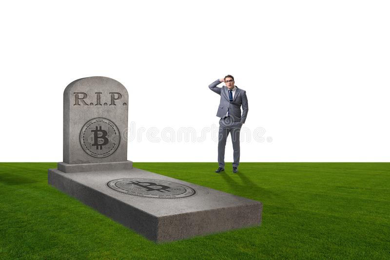 Biznesmen opłakuje śmierć bitcoin i upadek obraz stock