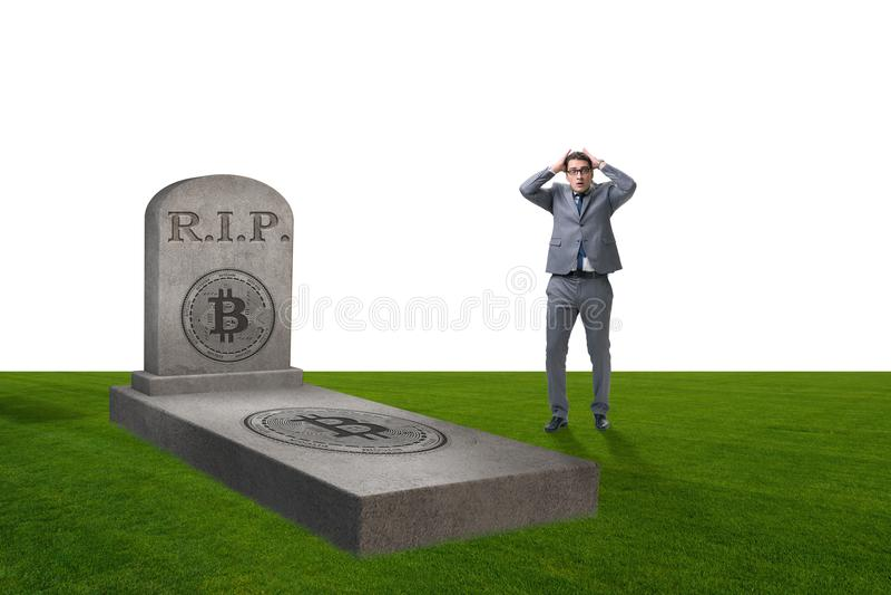 Biznesmen opłakuje śmierć bitcoin i upadek fotografia royalty free