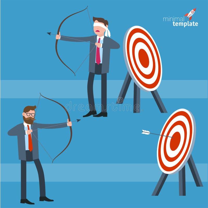 Biznesmen opaski i strzała mknący biznesmen patrzeje dla celu ilustracja wektor