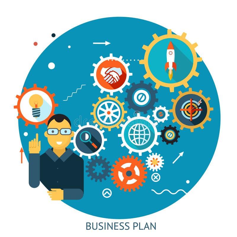 Biznesmen Opisuje Pomyślnego strategia plan royalty ilustracja
