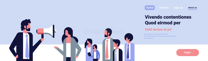 Biznesmen opowiada megafonu biznesowego lidera zespołu aktywisty opozyci demonstraci mowy pojęcia sztandaru ogólnospołecznego mie ilustracja wektor