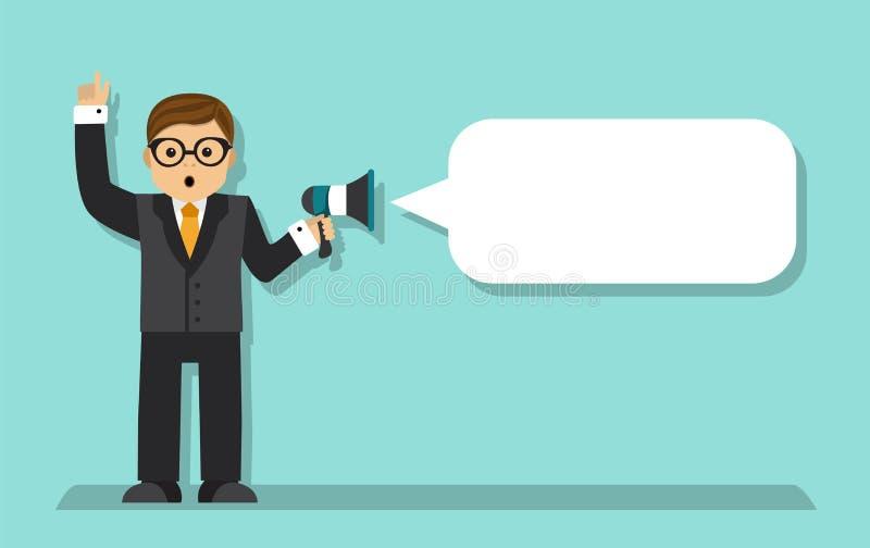 Biznesmen opowiada w megafonie ilustracja wektor