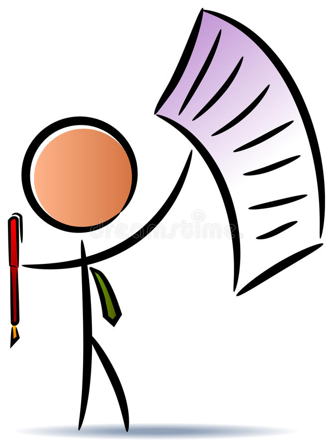 Biznesmen osoby papier i pióro ilustracji