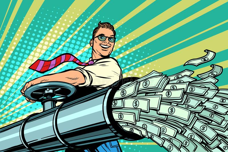 Biznesmen otwiera drymbę, pieniądze Finansowi dolary płyną ilustracji