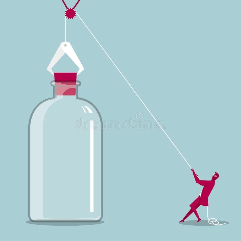 Biznesmen otwiera korek przez pulley ilustracji