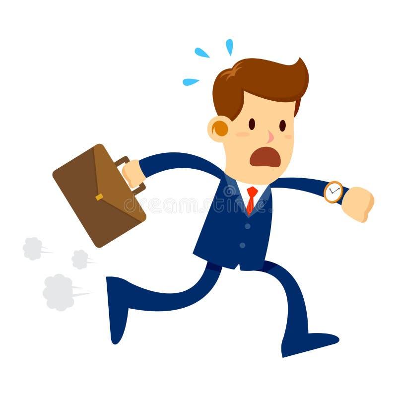 Biznesmen póżno dla pracy ilustracja wektor
