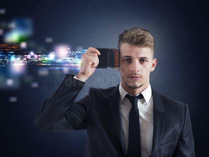 Biznesmen pamięci ulepszenie zdjęcia stock