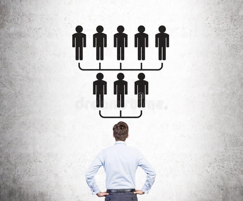 Biznesmen patrzeje hierarchii nakreślenie zdjęcie royalty free