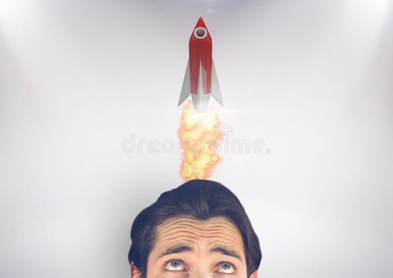 Biznesmen patrzeje rakietowego koszt stały ilustracja wektor