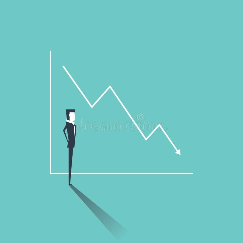 Biznesmen patrzeje wykres z sprzedażami lub zysku spadkiem ilustracji