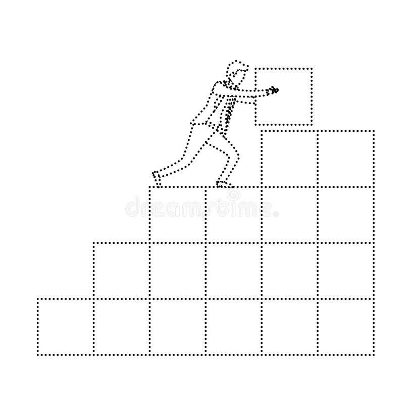 Biznesmen pcha blok w strukturze cegły monochromatyczna sylwetka kropkująca royalty ilustracja