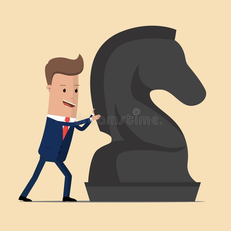 Biznesmen pcha gigantycznego szachowego konia Strategia biznesowa, strategicznego ruchu pojęcie również zwrócić corel ilustracji  ilustracja wektor