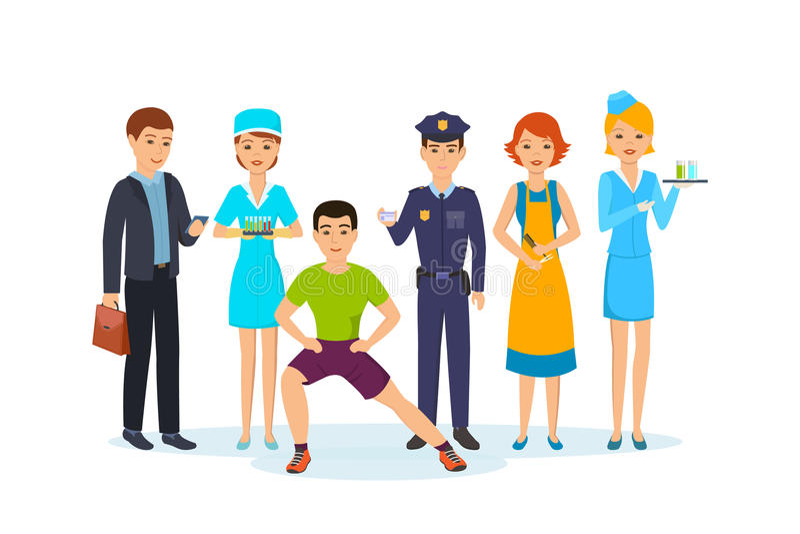 Biznesmen, pielęgniarka, sprawność fizyczna trener, funkcjonariusz policji, fryzjer, dziewczyna z napojami royalty ilustracja