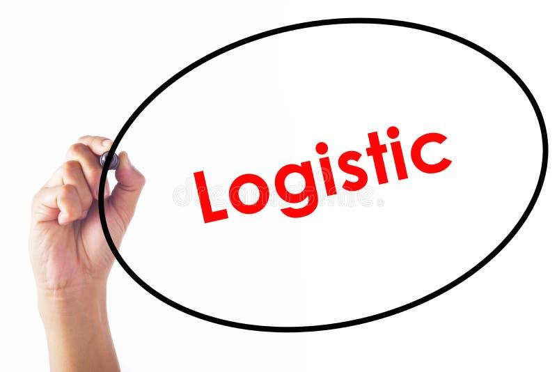 Biznesmen pisze Logistycznie słowie z piórem zdjęcie royalty free