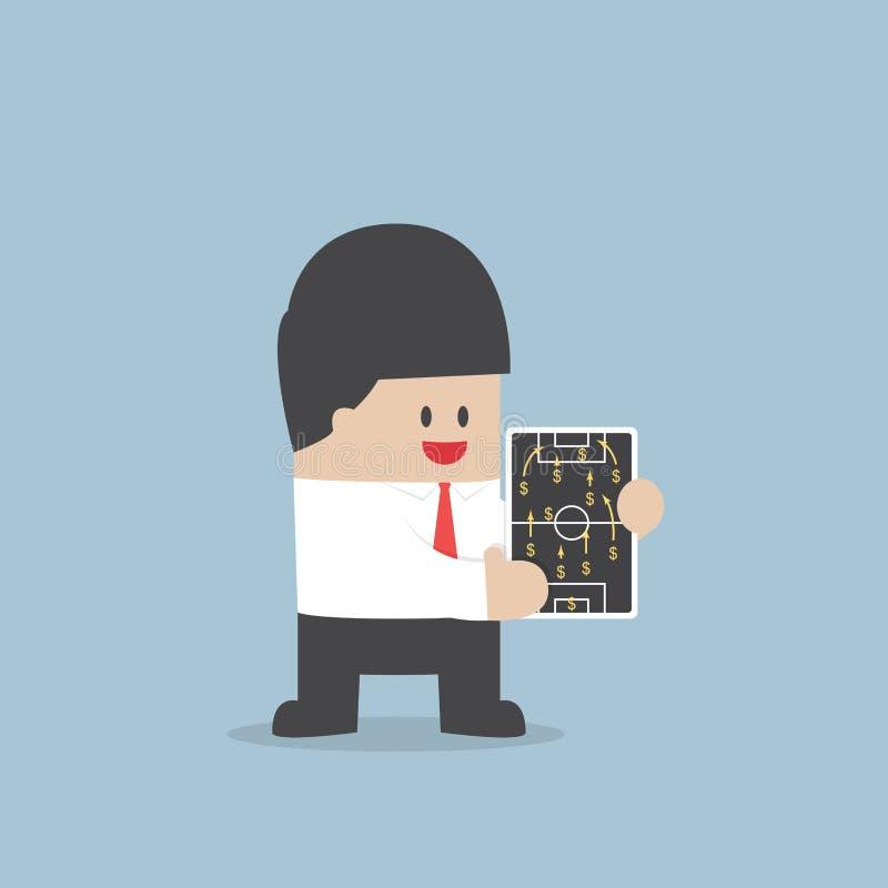 Biznesmen planistyczna futbolowa strategia z dolarowym znakiem, Financi ilustracja wektor