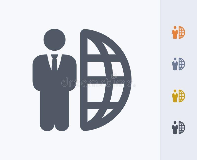 Biznesmen & połówki kula ziemska - węgiel ikony zdjęcie stock