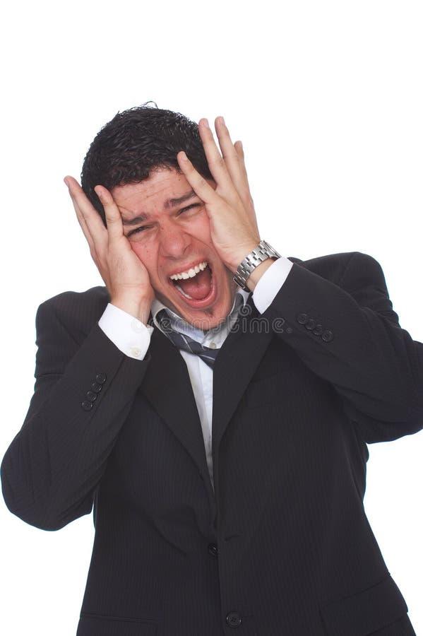Biznesmen pod stresu krzyczeć głośny obraz stock