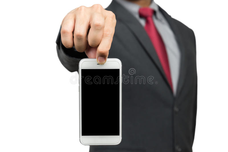 Biznesmen podnosi up telefon komórkowego fotografia royalty free