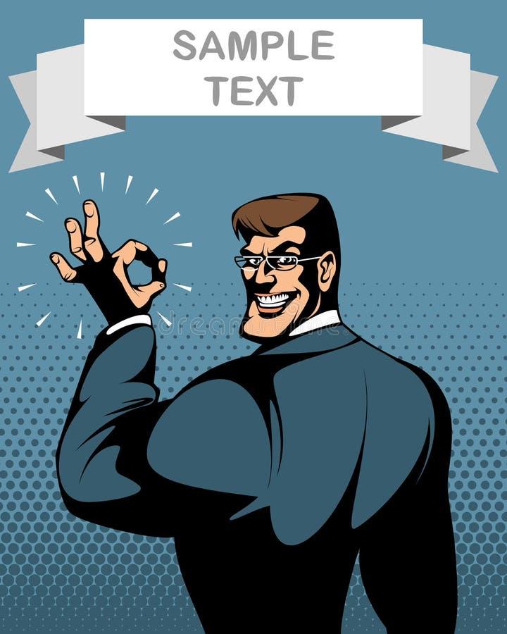 Biznesmen pokazuje OK gest Odizolowywający na bielu royalty ilustracja