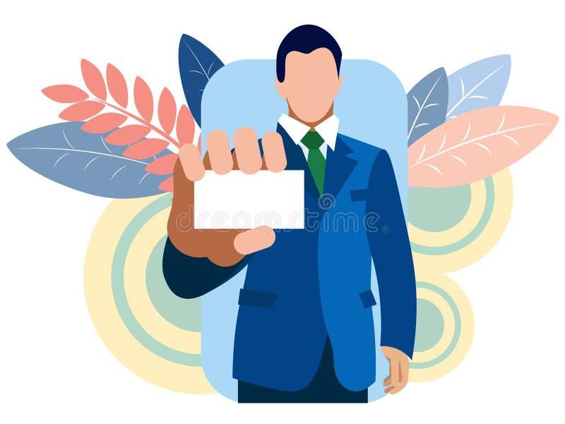 Biznesmen pokazuje wizytówkę, chwyty w jego ręka Przynosi zamkniętego W minimalisty stylu kreskówki mieszkania wektorze ilustracji