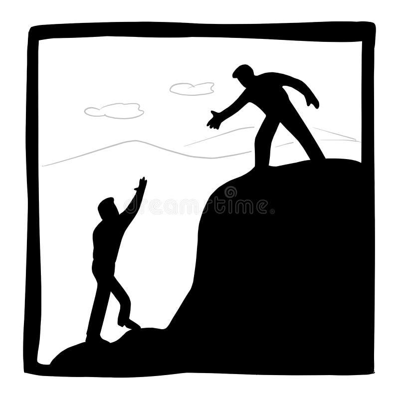 Biznesmen pomaga each innemu wycieczkuje w g ilustracji