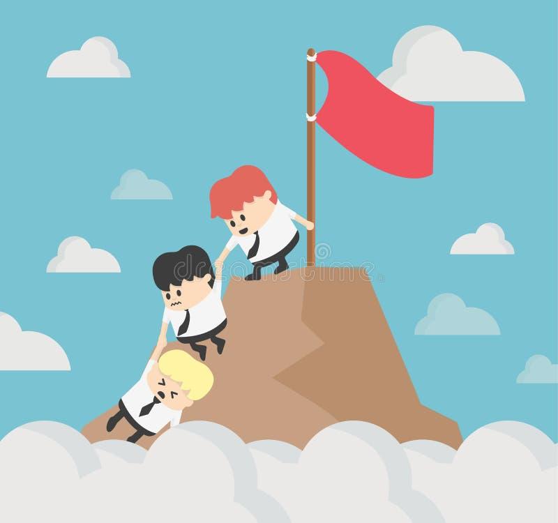 Biznesmen pomaga each inny wycieczkuje w górę góry 3 wymiarowe jaja rocznika filtr royalty ilustracja
