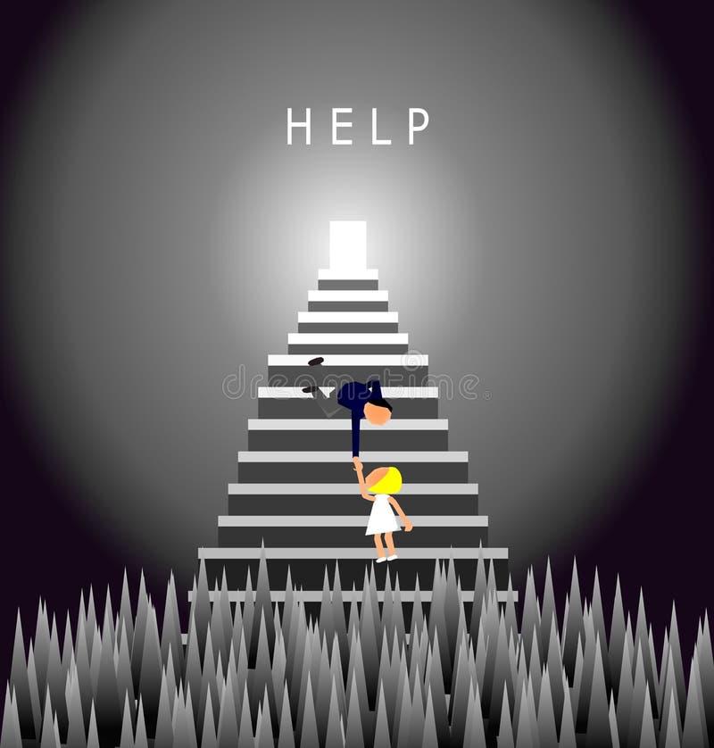 Biznesmen pomaga pracownika, mężczyzna próby ciągnąć kobiety z kolca oklepa dziury, pomocy pojęcie, wektorowa ilustracja royalty ilustracja