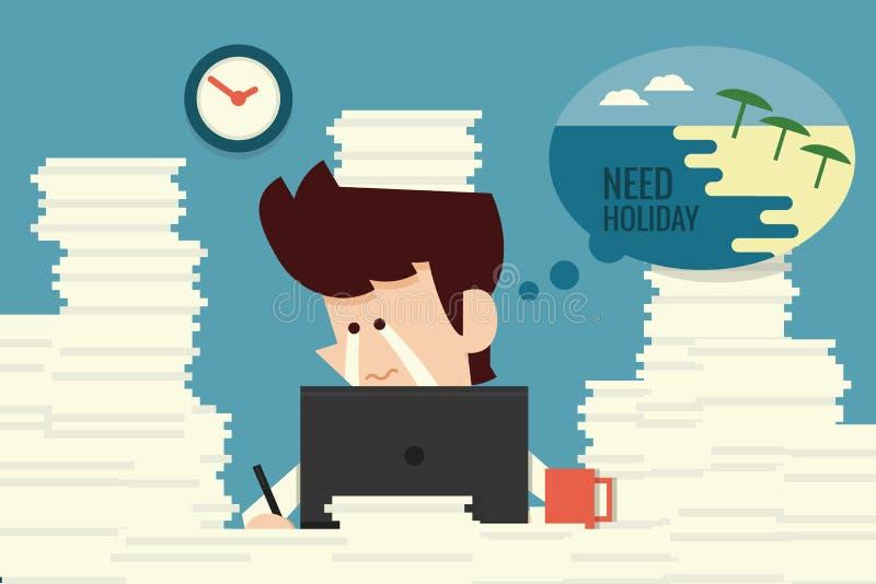 Biznesmen potrzeby wakacje royalty ilustracja