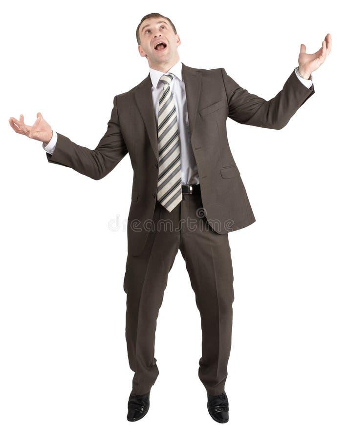 Download Biznesmen Pozuje Z Rękami Podnosić Obraz Stock - Obraz złożonej z facet, biznesmen: 65225347