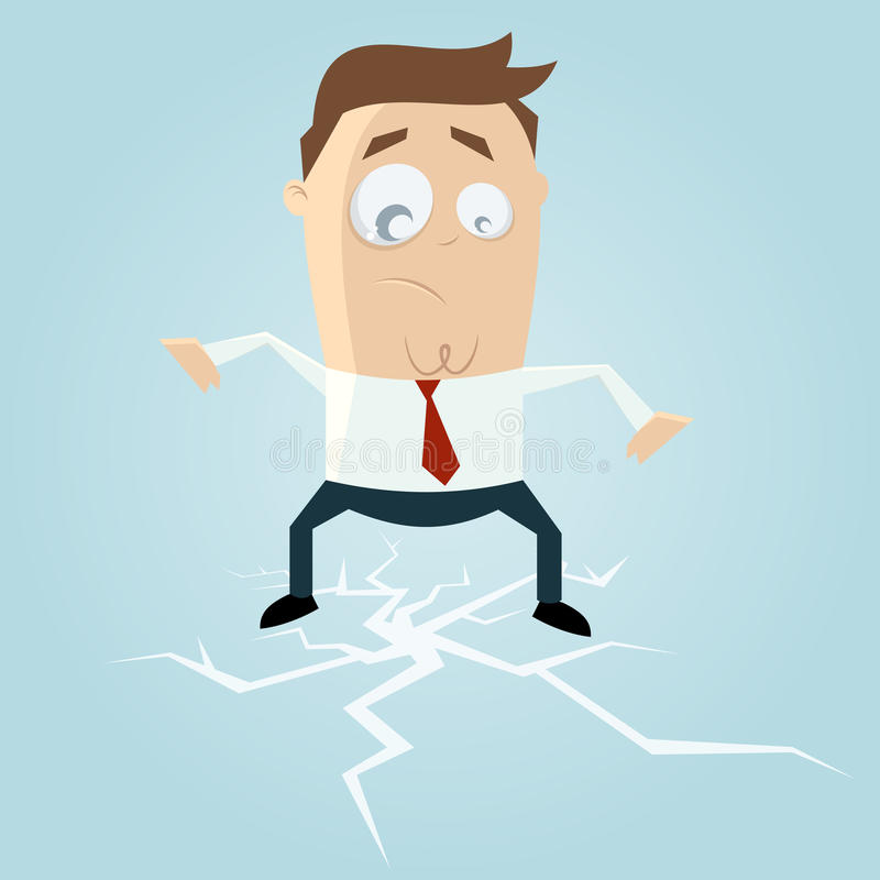 Biznesmen pozycja na łupanie lodzie ilustracja wektor
