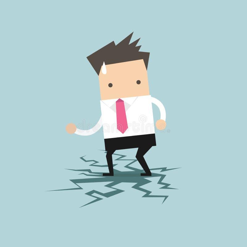 Biznesmen pozycja na łupanie podłoga ilustracja wektor