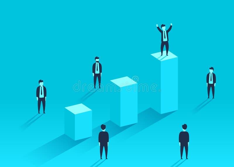 Biznesmen pozycja na pieniężnej mapie wokoło tłumu Lider, zwycięzca i sukcesu pojęcie, ilustracji