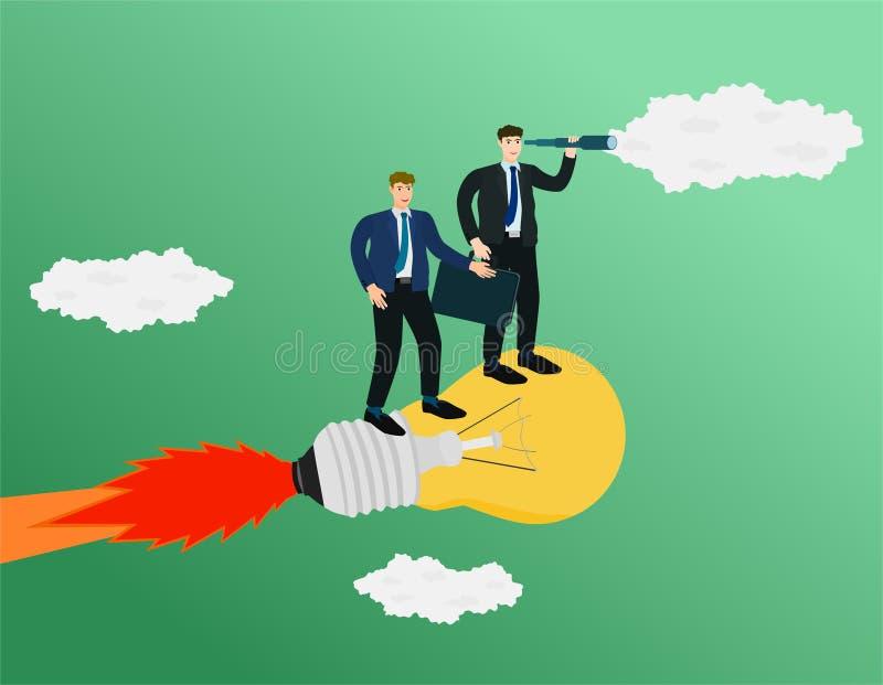 Biznesmen pozycja na pomysł rakiecie i rewizja celu ilustracji