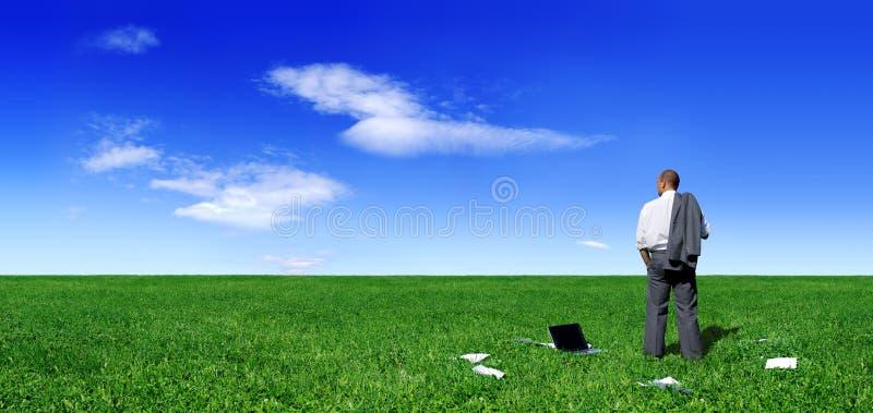 Biznesmen pozycja na zieleni polu obrazy stock
