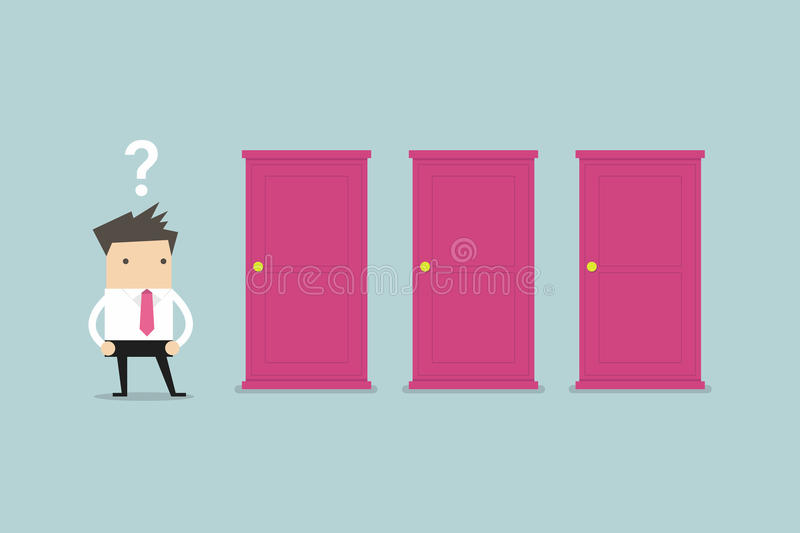 Biznesmen pozycja obok trzy drzwi, niezdolnych robić prawemu decyzi pojęciu z znakami zapytania nad jego głowie royalty ilustracja