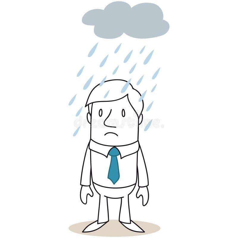Biznesmen pozycja pod dżdżystą chmurą ilustracja wektor