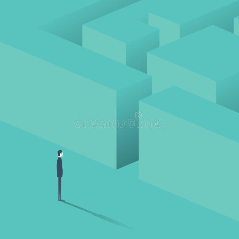 Biznesmen pozycja przed labiryntem Biznesowa pojęcie strategia, rozwiązania znalezienie ilustracji
