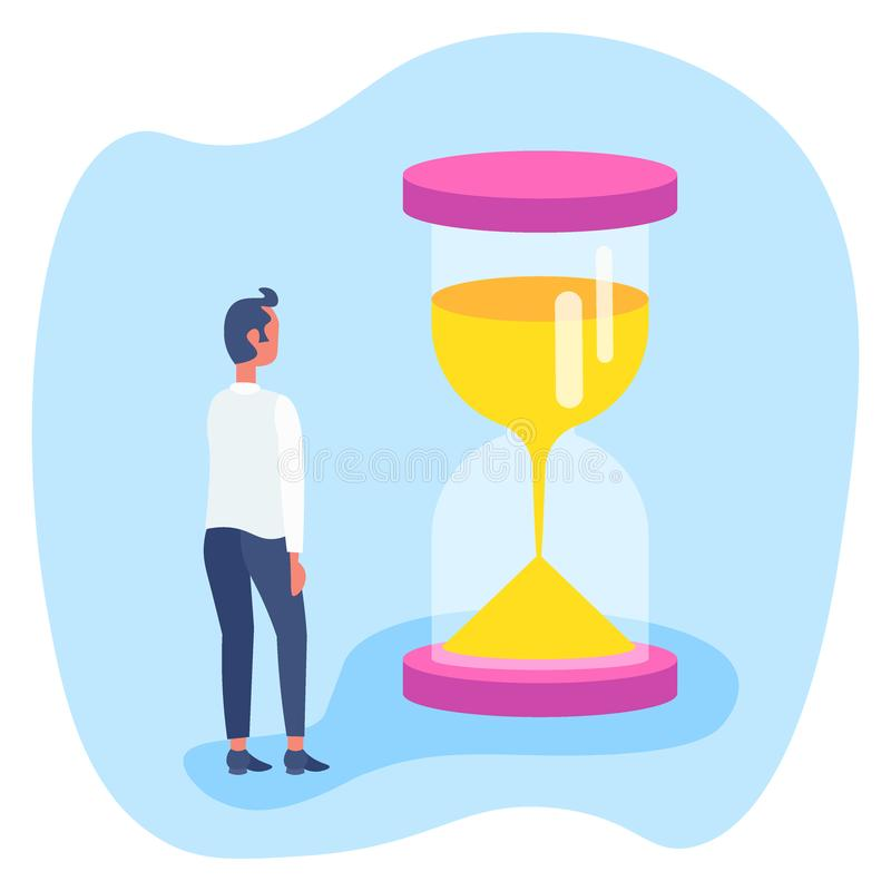 Biznesmen pozycja przy piaska zegarka czasu zarządzania pojęcia biznesowego mężczyzny brainstorming mieszkaniem ilustracji