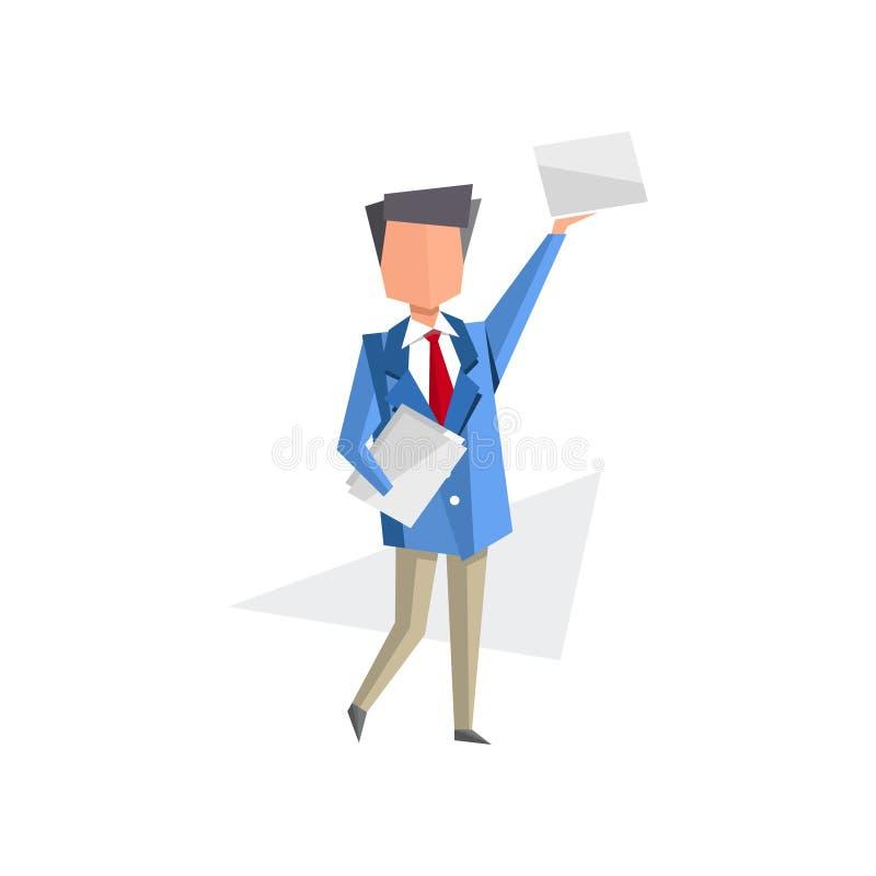 Biznesmen pozycja z dokumentami w jego rękach, papierkowa robota, biurokracja, rutynowy biznesowy pojęcie kreskówki wektor ilustracja wektor