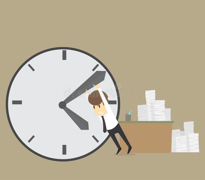 Biznesmen próbuje przerwa czas Zatrzymywać minutową rękę na dużym c royalty ilustracja