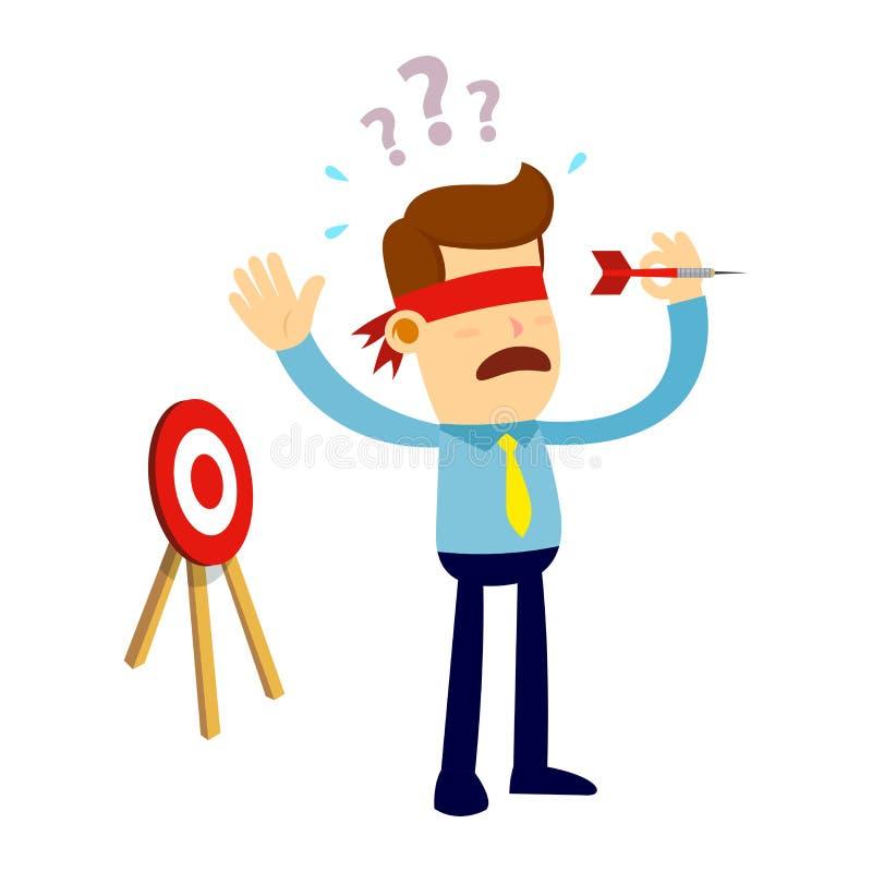 Biznesmen Próbuje Rzucać strzałki strzała Z opaską ilustracja wektor