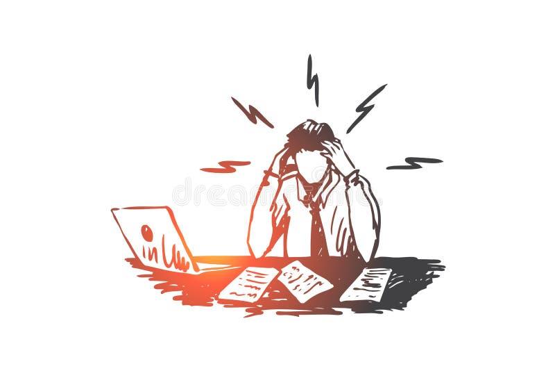 Biznesmen, praca, stres, pieniężny raportowy pojęcie Ręka rysujący odosobniony wektor royalty ilustracja