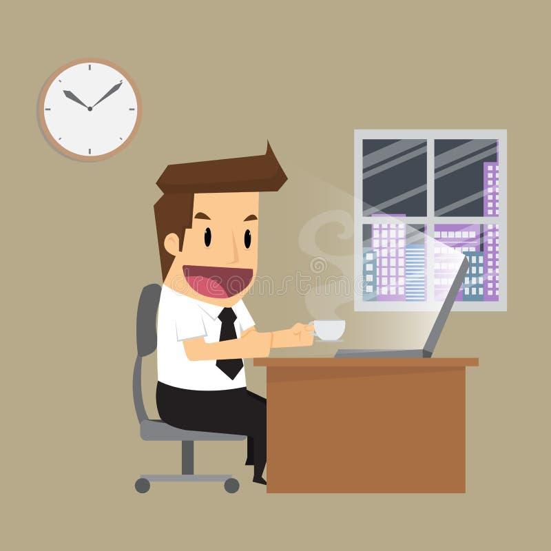 Biznesmen pracuje ciężką noc w biurze ilustracja wektor