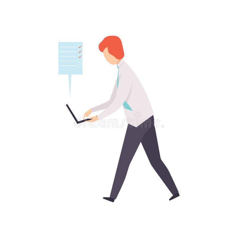 Biznesmen pracuje na jego laptopie podczas gdy pracujący przy pracy wektorową ilustracją na a, pomyślny biznesowy charakter ilustracji
