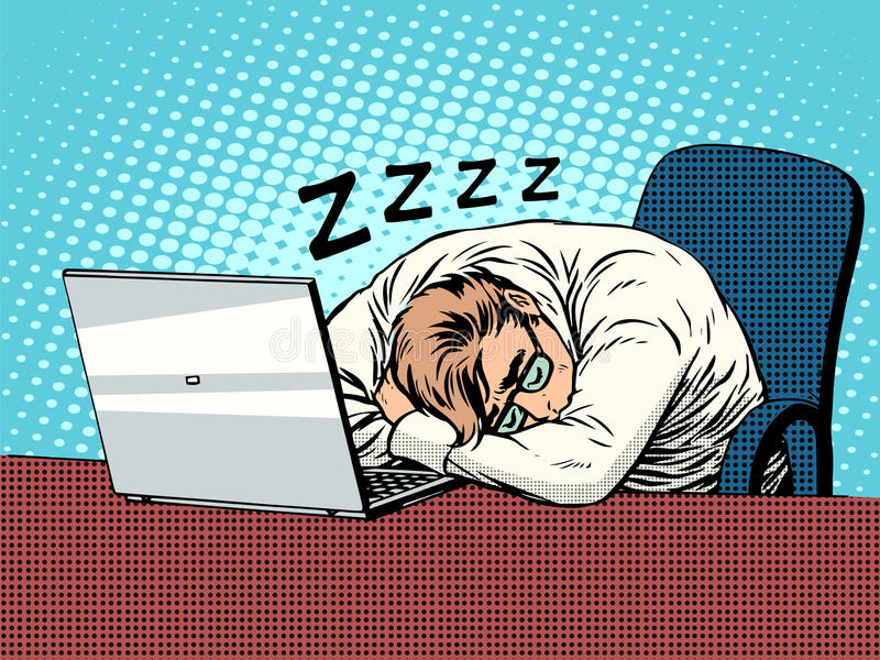 Biznesmen pracuje na laptopu zmęczenia sen royalty ilustracja
