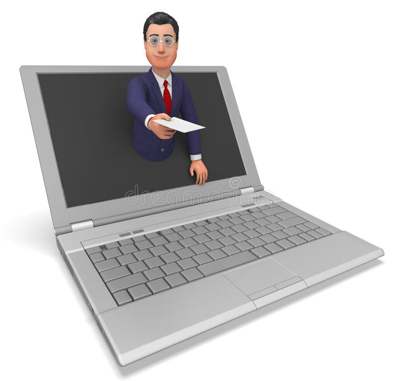 Biznesmen Pracuje Online Reprezentuje internet I Biz ilustracja wektor