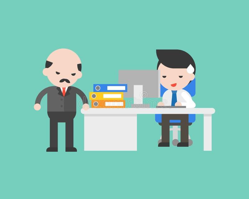 Biznesmen pracuje pod presją szefa, biznesowa sytuacja ilustracja wektor