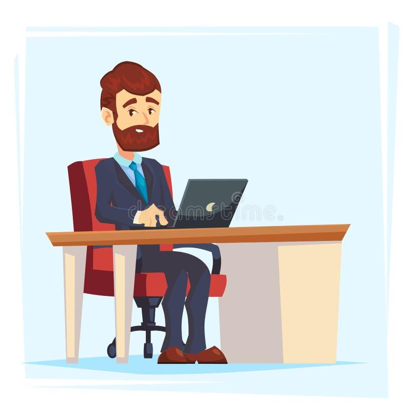Biznesmen Pracuje przy biuro stołem Płaski kreskówka projekta styl Wektorowa ilustracja kreskówka Duży szef z Workspace, stół i ilustracji