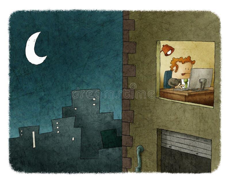 Biznesmen pracuje przy nocą ilustracji